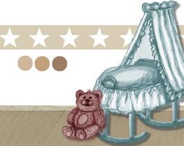 selbstklebende Kinderbordüre | Große Sterne - braun