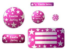Schulaufkleber-Set Silberfolie | Sterne pink