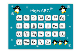 ABC Lernposter | Pinguin - türkis