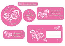 Schulaufkleber - Set | Schmetterlinge rosa