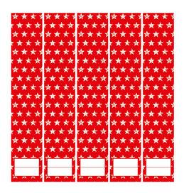 5er Set Ordnerrückenaufkleber | Sterne rot