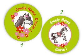 Namensaufkleber rund | Pony Blumen - grün