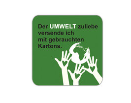 Verpackungsetiketten eckig | Der Umwelt zuliebe - schützende Hände grün