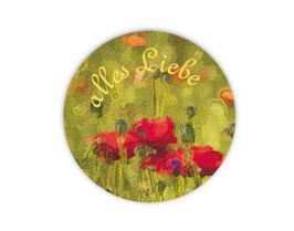 Geschenkaufkleber - rund | Mohnblume - Alles Liebe
