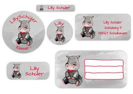 Schulaufkleber - Set | Nilpferd