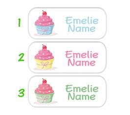 Namensaufkleber 2 x 5 cm | Cupcake