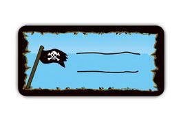 Heftaufkleber 3,0 x 6,5  cm | Piraten Flagge