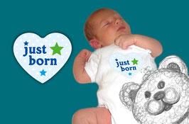 Baby Meilenstein Aufkleber | Herz hellblau - just born