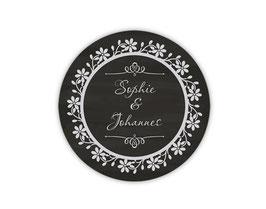 Hochzeitsaufkleber | Ornament Vintage - schwarz