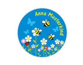 Namensaufkleber rund | Bienchen