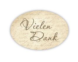 Geschenkaufkleber - oval | Danke - vintage