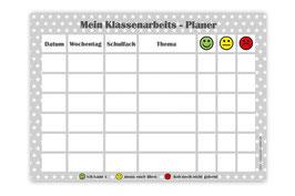 A4 Klassenarbeitsplaner - abwaschbar | Sternchen - grau