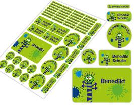 Schulstarter - Set   Farbklecks Monster - grün