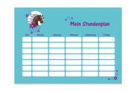 A4 Stundenplan | Pony Blumen - türkis