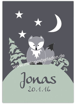 Namensposter - Waldtier Wolf