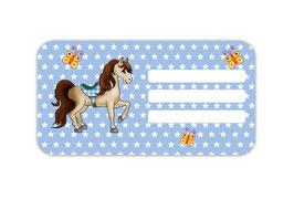 Heftaufkleber 4,4 x 8,4 cm | Pferd Sterne - blau