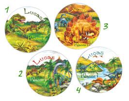 Namensaufkleber rund | Urzeit Dinos