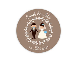 Hochzeitsaufkleber | Brautpaar - braun