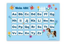 ABC Lernposter | Pony - hellblau