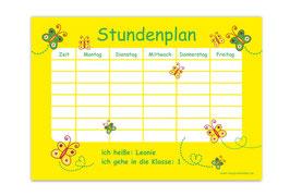 A4 Stundenplan | Schmetterlinge gelb