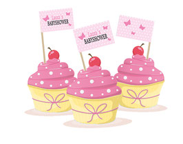 Kuchenfähnchen - selbstklebend  | Babyshower - Schmetterlinge  rosa