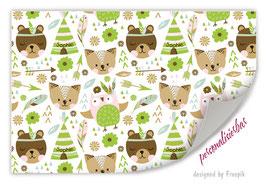 Geschenkpapier | Indianer Bär grün - personalisierbar