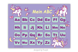 ABC Lernposter | Einhorn - lila
