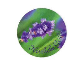 Geschenkaufkleber - rund | Lavendel - Herzliche Grüße