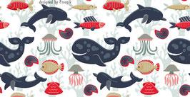 ECO - Vliesbordüre | Wale - Delfine - Fische