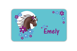 Brotdosenaufkleber | Pony Blumen - türkis
