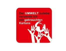 Verpackungsetiketten eckig | Der Umwelt zuliebe - schützende Hände rot