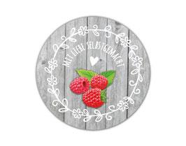 Marmeladenaufleber rund | Holzoptik mit Blumenornament - Himbeere