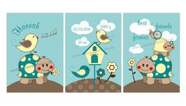 3 er Set Kinderposter - Schildkröte, Vögelchen und Schnecke - braun türkis