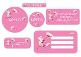 Schulaufkleber - Set | Maus rosa