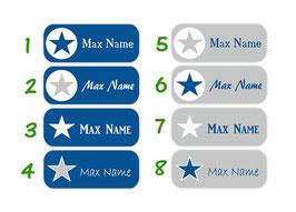 Namensaufkleber 2 x 5 cm | Sterne blau-grau