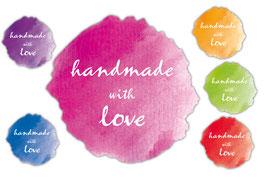 Handmade Aufkleber | Handmade with Love - Farbklecks