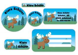 Schulaufkleber - Set | Elch