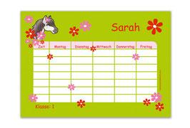 A4 Stundenplan   Pony Blumen - grün