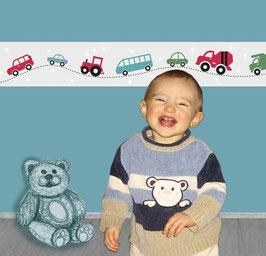 Kinderbordüre | Bunte Autos mit Sternchen