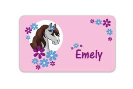 Brotdosenaufkleber | Pony Blumen - rosa