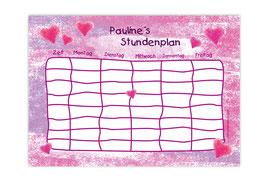 A4 Stundenplan   Pastell Herzchen pink-rosa