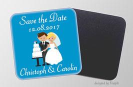 Magnetbild - Hochzeitspaar - blau |  Save the Date