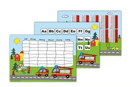3 er Schulset: Stundenplan + Lernposter | Feuerwehr
