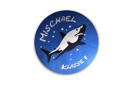 Namensaufkleber Silberfolie rund  | Hai