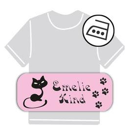 Bügeletiketten 2 x 5 cm | Katze - rosa