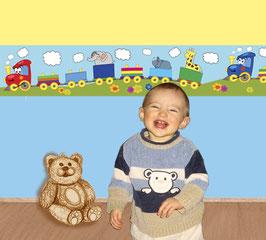 Kinderbordüre | Bunte Eisenbahn - Tag