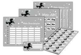 4 er Schulset:  Stundenplan + Lernposter + Aufkleber | Wildpferd - grau