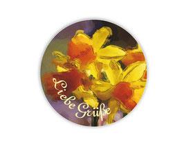 Geschenkaufkleber - rund | gelbe Narzisse - Liebe Grüße