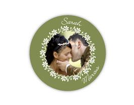Hochzeitsaufkleber | Blumenornamente mit Foto - grün