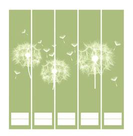 5er Set Ordnerrückenaufkleber | Pusteblume grün